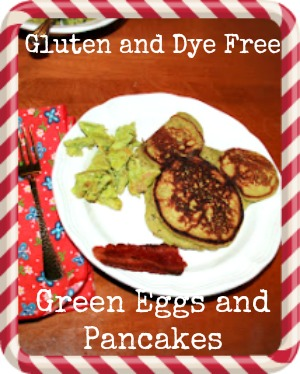 gluten free dye free green eggs and pancakes for Dr. Seuss
