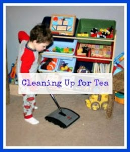 Montessori homeschool practical life cleaning and tea service