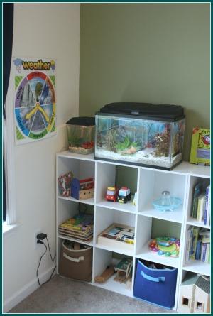 homeschool room fish cubbies