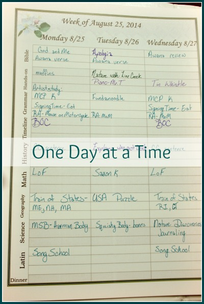 one day at a time homeschool planning