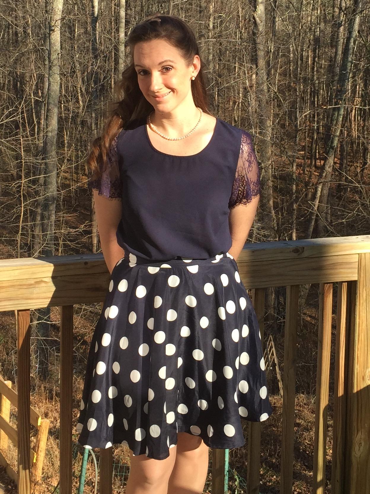 Stitch Fix Hanneli Polka Dot Swing Skirt