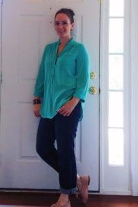 Stitch Fix Colibri tab sleeve blouse kut from the cloth boyfriend jeans