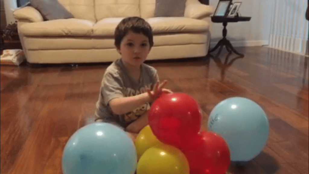 identifying atom parts of a helium atom made from balloons STEM activity