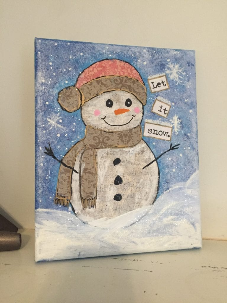 Build a snowman with mixed media art