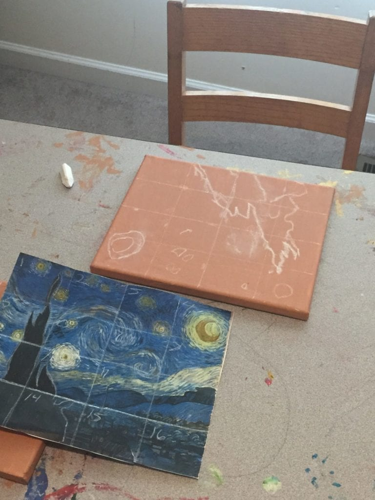 sketched out starry night