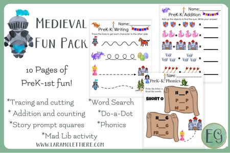 medieval preschool fun pack