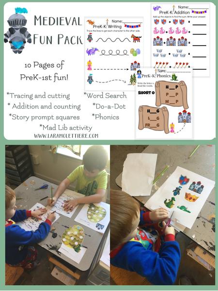 free medieval printable pack for preschool