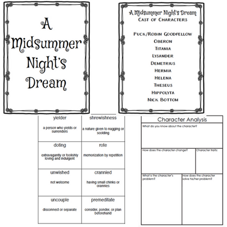 a midsummer nights dream vocabulary cards character analysis
