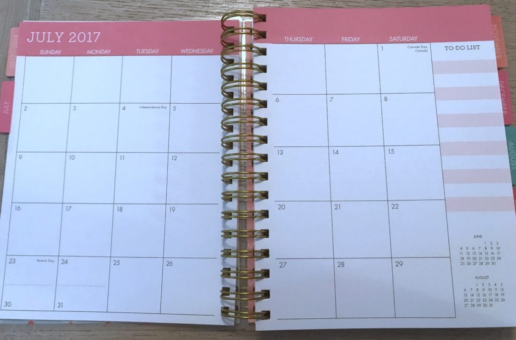 floral planner monthly overview