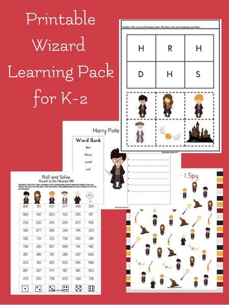 printable wizard themed learning pack for early elementary