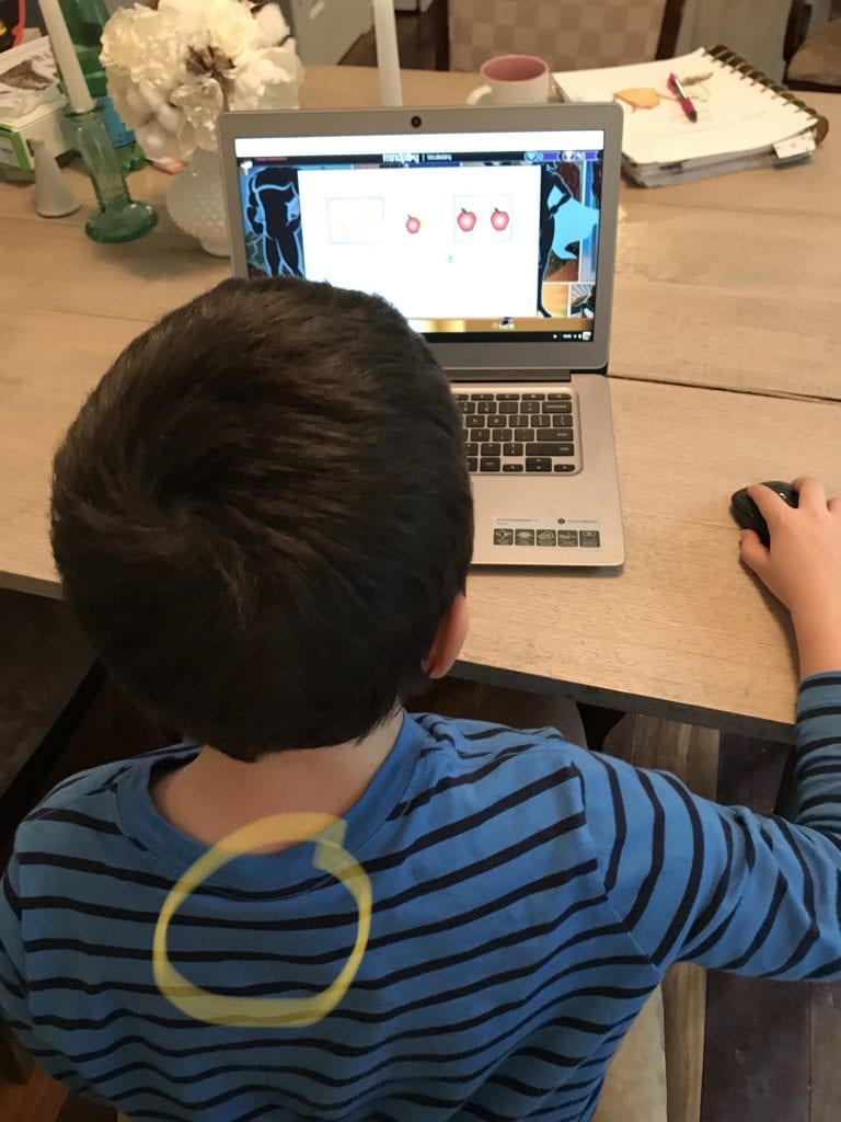 Upright Go posture corrector homeschool student