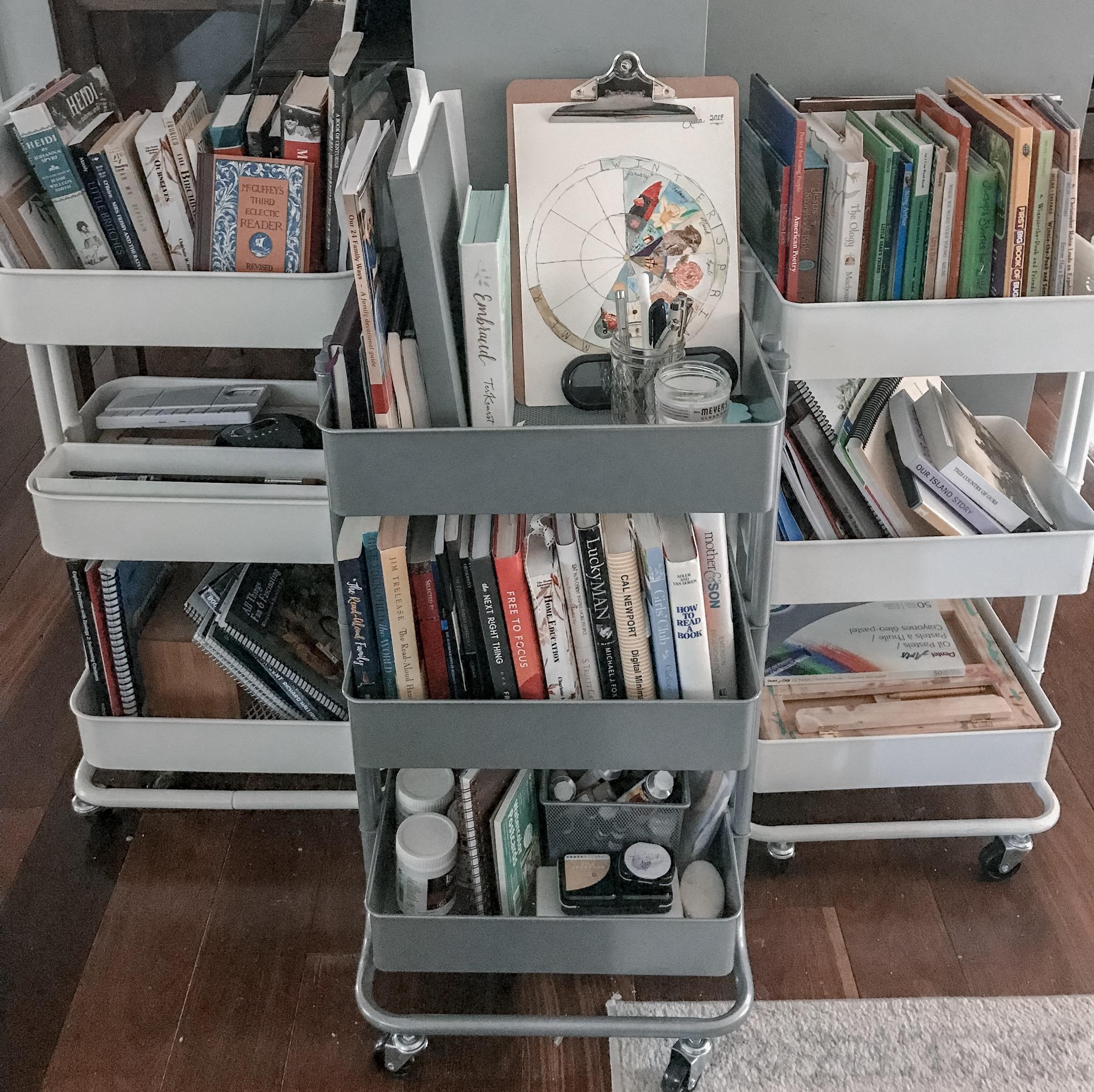 how to organize homeschool carts
