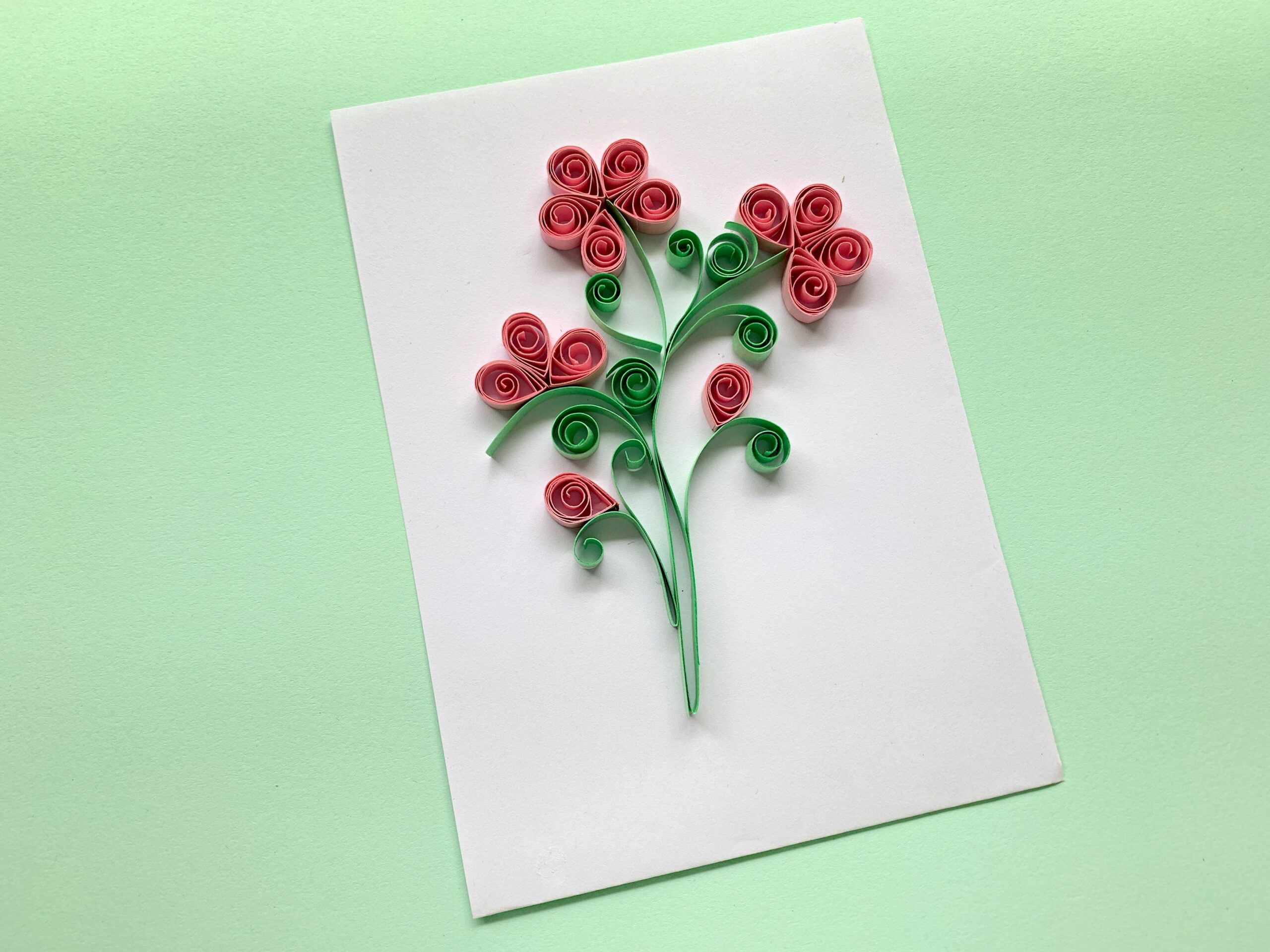Quilled paper flower handicraft