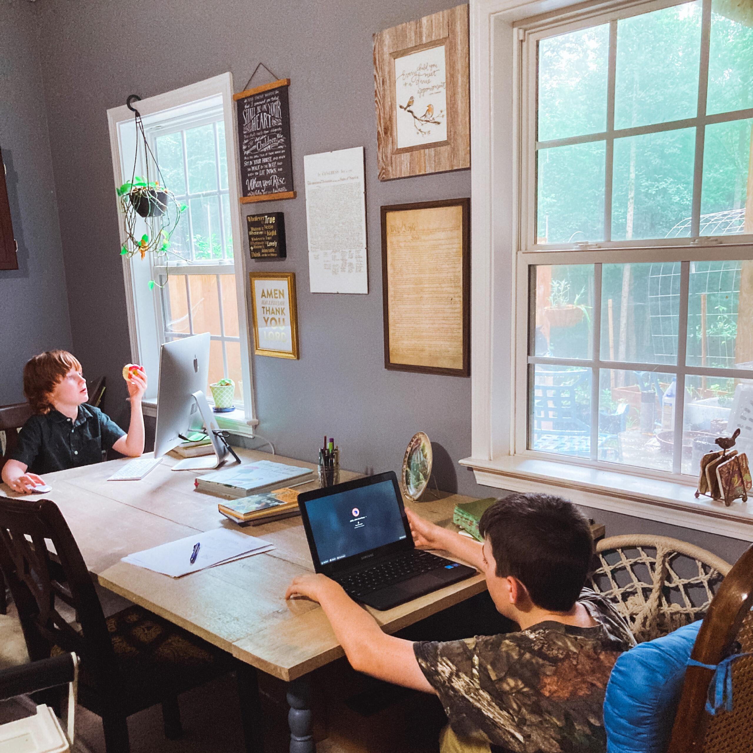 happy homeschool children learning